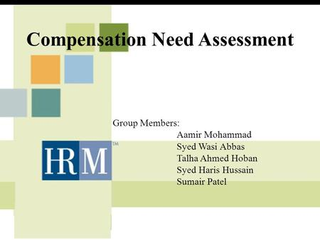 Compensation Need Assessment Group Members: Aamir Mohammad Syed Wasi Abbas Talha Ahmed Hoban Syed Haris Hussain Sumair Patel.