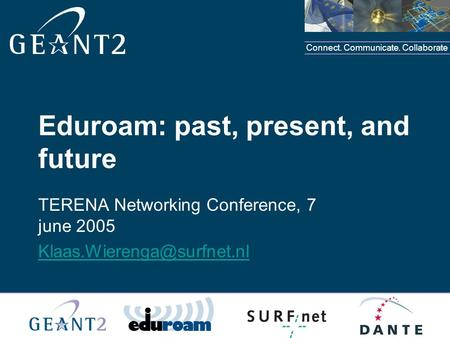 Connect. Communicate. Collaborate TERENA Networking Conference, 7 june 2005 Eduroam: past, present, and future.