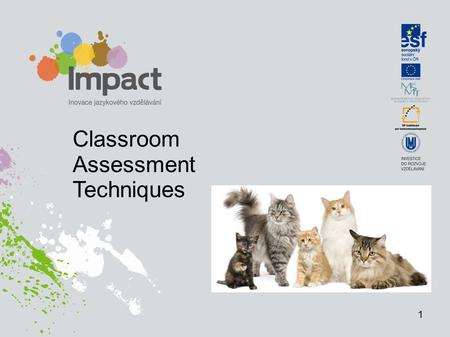 Classroom Assessment Techniques 1. Definitions Assess gather evidence and document learning (KNOW & SHOW) Evaluate make judgements based on data collected.