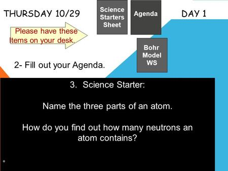 Name the three parts of an atom.