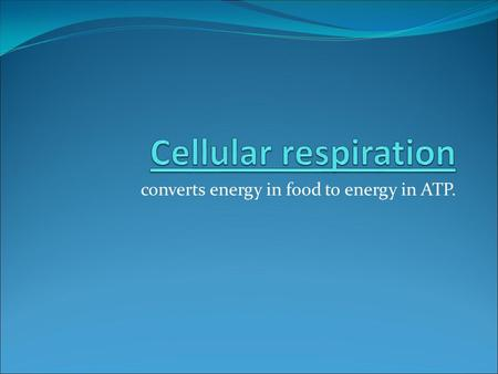 Converts energy in food to energy in ATP.. Formula for Cellular Respiration 6O 2 + C 6 H 12 O 6 → 6CO 2 + 6H 2 O + 36 ATP.