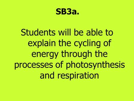 SB3a. Students will be able to explain the cycling of energy through the processes of photosynthesis and respiration.
