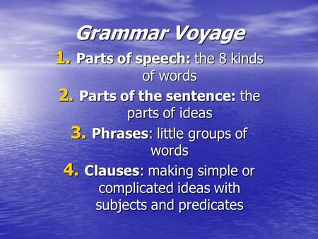 Grammar Voyage 1. Parts of speech: the 8 kinds of words 2. Parts of the sentence: the parts of ideas 3. Phrases: little groups of words 4. Clauses: making.