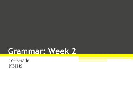 Grammar: Week 2 10 th Grade NMHS. The Pronoun The pronoun, the second of the eight parts of speech, is a word that takes the place of a noun. In the sentence,