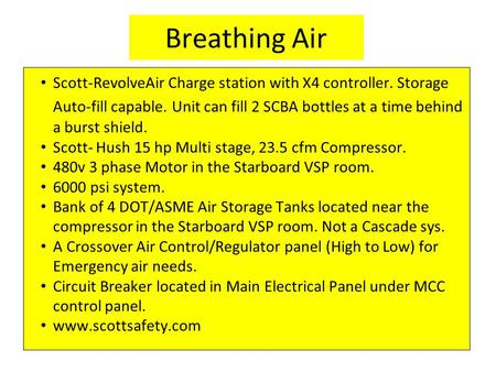 Breathing Air Scott-RevolveAir Charge station with X4 controller. Storage Auto-fill capable. Unit can fill 2 SCBA bottles at a time behind a burst shield.