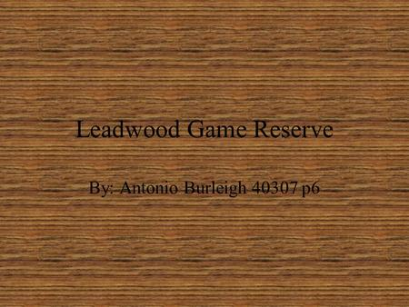 Leadwood Game Reserve By: Antonio Burleigh 40307 p6.