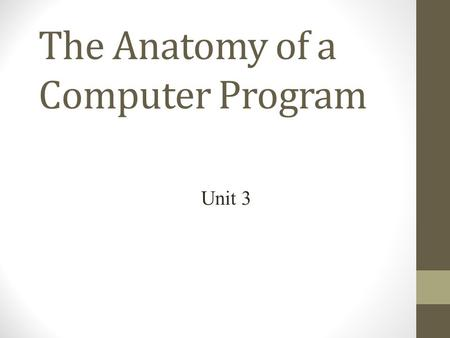 The Anatomy of a Computer Program Unit 3. Programs are Directions  A computer carries out the instructions in a program, line by line, exactly as they.