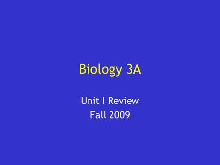 Biology 3A Unit I Review Fall 2009. User Instructions Add your category headings to the Jeopardy board (slide #3) Add your answers and questions to slides.