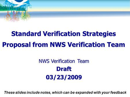 Standard Verification Strategies Proposal from NWS Verification Team NWS Verification Team Draft03/23/2009 These slides include notes, which can be expanded.