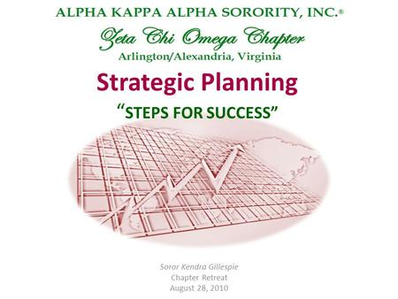 "Strategic Planning "" STEPS FOR SUCCESS"" Soror Kendra Gillespie Chapter Retreat August 28, 2010."
