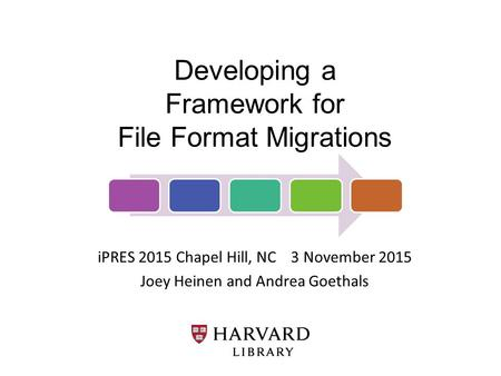 Developing a Framework for File Format Migrations iPRES 2015 Chapel Hill, NC 3 November 2015 Joey Heinen and Andrea Goethals.