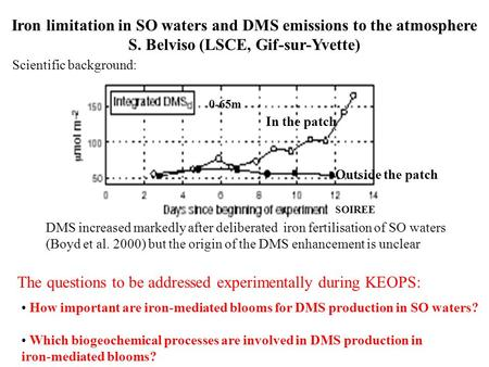 Iron limitation in SO waters and DMS emissions to the atmosphere S. Belviso (LSCE, Gif-sur-Yvette) DMS increased markedly after deliberated iron fertilisation.