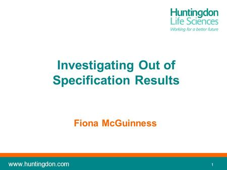 Investigating Out of Specification Results