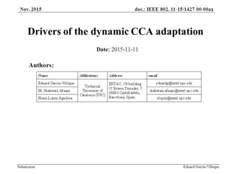 Doc.: IEEE 802. 11-15/1427-00-00ax Submission Eduard Garcia-Villegas Drivers of the dynamic CCA adaptation Authors: Nov. 2015 Date: 2015-11-11.