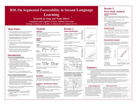 B10. On Segmental Factorability in Second Language Learning Kenneth de Jong and Noah Silbert Linguistics and Cognitive Science, Indiana University (kdejong.