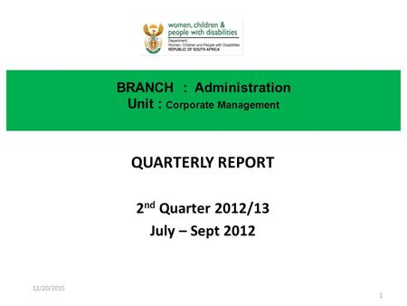 QUARTERLY REPORT 2 nd Quarter <strong>2012</strong>/13 July – Sept <strong>2012</strong> BRANCH : Administration Unit : Corporate Management 12/20/2015 1.