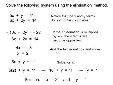 Solve the following system using the elimination method.