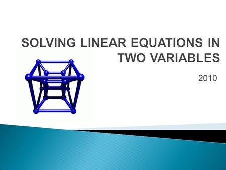 2010.  A first degree equation is called a linear equation in two variables if it contains two distinct variables.