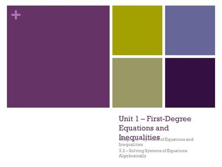 + Unit 1 – First-Degree Equations and Inequalities Chapter 3 – Systems of Equations and Inequalities 3.2 – Solving Systems of Equations Algebraically.