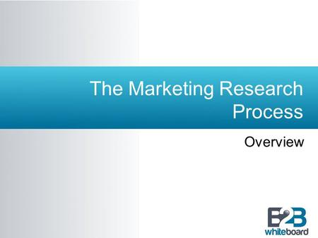 The Marketing Research Process Overview. Learning Objectives  To learn the steps in the marketing research process.  To understand how the steps in.