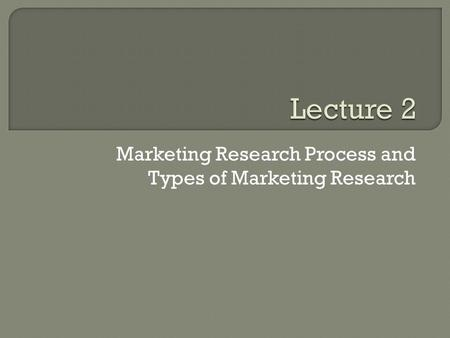 Marketing Research Process and Types of Marketing Research.