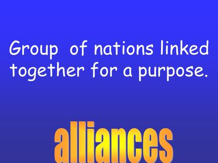 Group of nations linked together for a purpose.. President Wilson's plan for a fair peace after World War I. One part of it was the formation of the League.