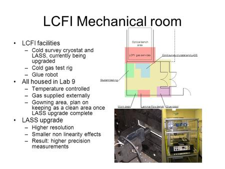 LCFI Mechanical room LCFI facilities –Cold survey cryostat and LASS, currently being upgraded –Cold gas test rig –Glue robot All housed in Lab 9 –Temperature.