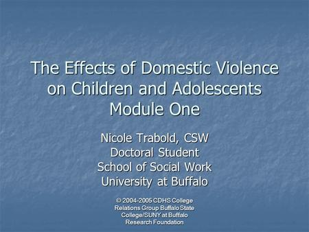 © 2004-2005 CDHS College Relations Group Buffalo State College/SUNY at Buffalo Research Foundation The Effects of Domestic Violence on Children and Adolescents.
