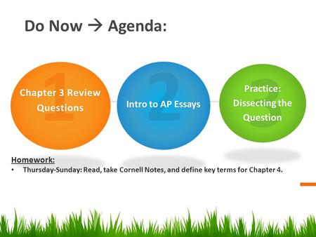 Do Now  Agenda: Homework: Thursday-Sunday: Read, take Cornell Notes, and define key terms for Chapter 4. 1 Chapter 3 Review Questions 2 Intro to AP Essays.
