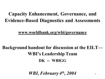 Background handout for discussion at the EILT—WBI's Leadership Team