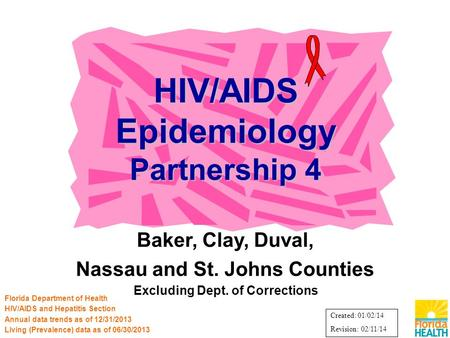 Baker, Clay, Duval, Nassau and St. Johns Counties Excluding Dept. of Corrections HIV/AIDS Epidemiology Partnership 4 Florida Department of Health HIV/AIDS.