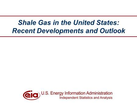 Shale Gas in the United States: Recent Developments and Outlook.