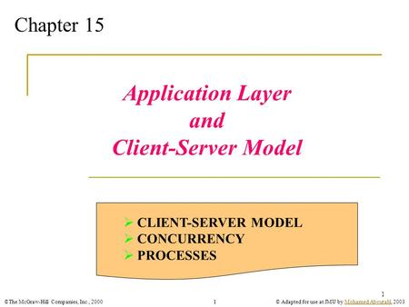 ©The McGraw-Hill Companies, Inc., 2000© Adapted for use at JMU by Mohamed Aboutabl, 2003Mohamed Aboutabl1 1 Chapter 15 Application Layer and Client-Server.