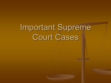 Important Supreme Court Cases. Marbury v. Madison Does the Judiciary Act of 1789 allow Marbury to take his case directly to the Supreme Court? Does the.