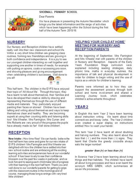 SHOBNALL PRIMARY SCHOOL Dear Parents We have pleasure in presenting the Autumn Newsletter which brings you the latest information and the range of activities.