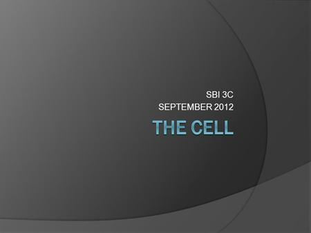 SBI 3C SEPTEMBER 2012. THE BIG QUESTION HOW DO YOU KNOW IF SOMETHING IS ALIVE??