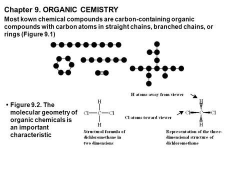Chapter 9. ORGANIC CEMISTRY Most kown chemical compounds are carbon-containing organic compounds with carbon atoms in straight chains, branched chains,