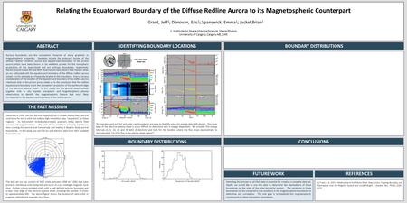 Relating the Equatorward Boundary of the Diffuse Redline Aurora to its Magnetospheric Counterpart Grant, Jeff 1 ; Donovan, Eric 1 ; Spanswick, Emma 1 ;