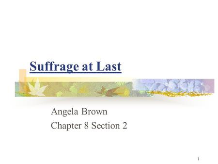 Suffrage at Last Angela Brown Chapter 8 Section 2 1.
