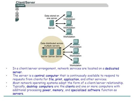 In a client/server arrangement, network services are located on a dedicated server. The server is a central computer that is continuously available to.