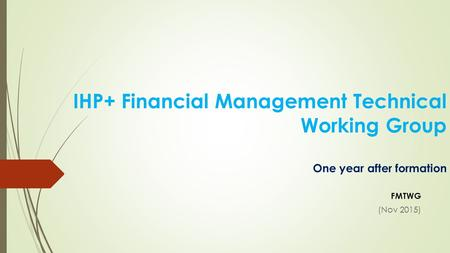 IHP+ Financial Management Technical Working Group One year after formation FMTWG (Nov 2015)