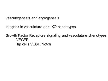Vasculogenesis and angiogenesis Integrins in vasculature and KO phenotypes Growth Factor Receptors signaling and vasculature phenotypes VEGFR Tip cells.
