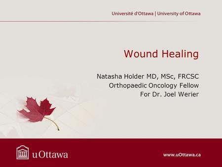 Wound Healing Natasha Holder MD, MSc, FRCSC Orthopaedic Oncology Fellow For Dr. Joel Werier.