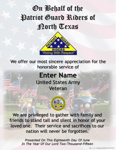 Enter Name United States Army Veteran We are privileged to gather with family and friends to stand tall and silent in honor of your loved one. Their service.
