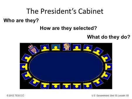 The President's Cabinet © 2012, TESCCC Who are they? How are they selected? What do they do? U.S. Government, Unit: 05 Lesson: 03.