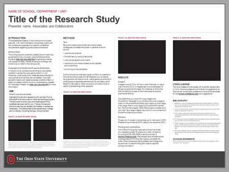 "Title of the Research Study Presenter name, Associates and Collaborators INTRODUCTION This editable template is in the most common poster size (48"" x 36"")"