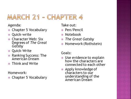Agenda:  Chapter 5 Vocabulary  Quick-write  Character Web: Six Degrees of The Great Gatsby  Quick-Write  Ranking Success: The American Dream  Think.