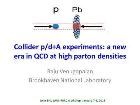Collider p/d+A experiments: a new era in QCD at high parton densities Raju Venugopalan Brookhaven National Laboratory Joint BNL-LANL-RBRC workshop, January.