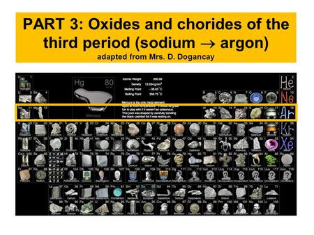 PART 3: Oxides and chorides of the third period (sodium  argon) adapted from Mrs. D. Dogancay.