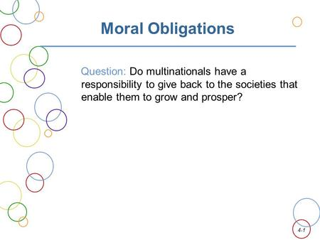 Moral Obligations Question: Do multinationals have a responsibility to give back to the societies that enable them to grow and prosper?